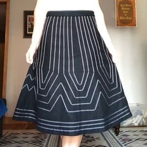 Boden Black Midi Skirt with Dark Grey Accents